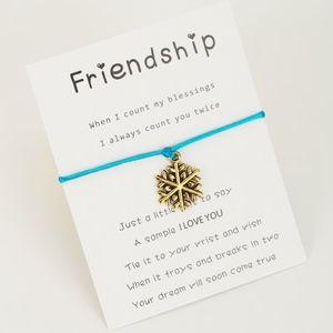 Jewelry - Sky Blue Rope Gold Snowflake Charm Bracelet & Card